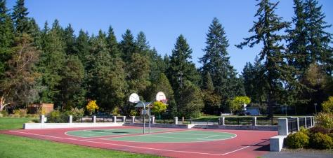 Basketball hoops in Hickman Park, Edmonds, WA