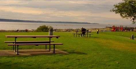 Picnic Tables and Beach, Marina Beach Park, Edmonds, WA