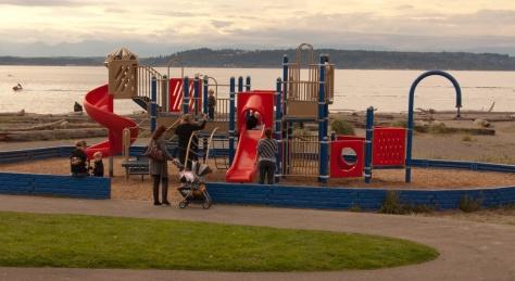 Children's play equipment next to the beach, Marina Beach Park, Edmonds, WA