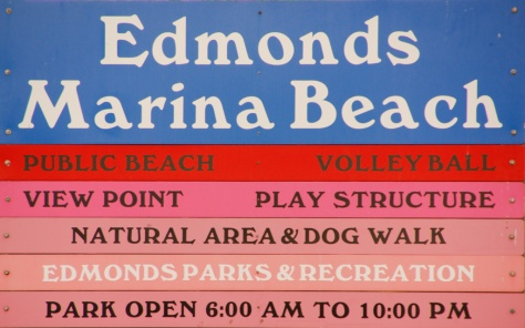 Marina Beach Park Entrance Sign, Edmonds, WA
