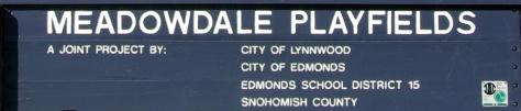 Meadowdale Playfields Entry Sign, Edmonds, WA