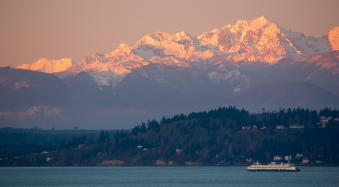 Olympic Mountains and Ferry from Edmonds, WA
